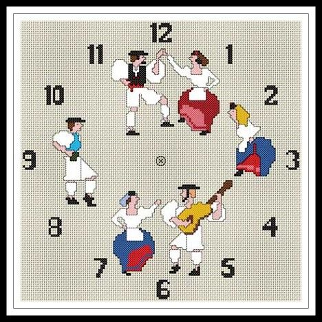 """Gráfico para punto de cruz de un """"Reloj Típico Canario""""."""