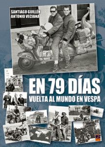 Santiago Guillen n Antonio Veciana, rode a Vespa named 'Dulcinea in 1962, taking just 79 days to ride 18,937 miles (30,500 km) thru 17 countries, to beat record  in Jules Vernes' classic tale 'Around the World in 80 Days', Their route took them from Spainm, Italy, Greece, Turkey, Iran, Afganistan, Pakistan n India. Then by 'plane to Kuala Lumpur, Hong Kong n Japan, n then rode across USA b4 rtrng to Spain via France. 'Dali Scooter' as now known, at display Piaggio's museum, Pontederra, Italy