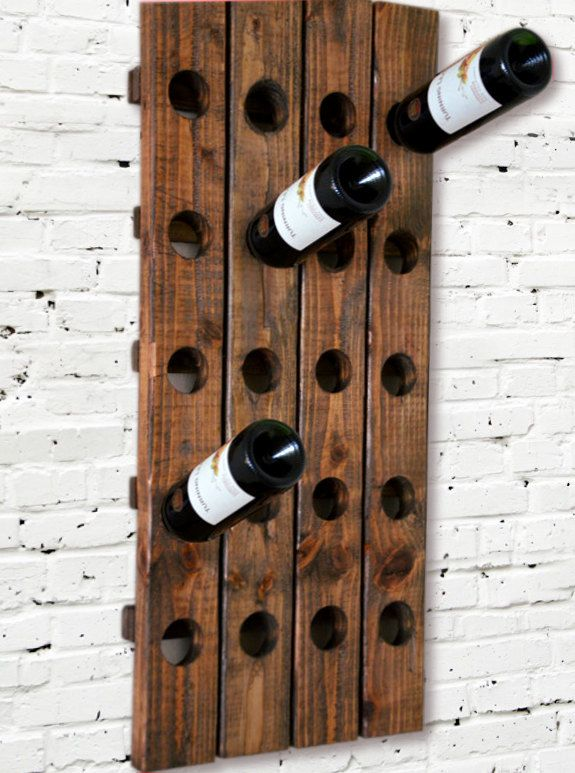 Modern Wine Rack Riddling Style Wall Hanging (Walnut) 20 Bottle. $59.99, via Etsy.