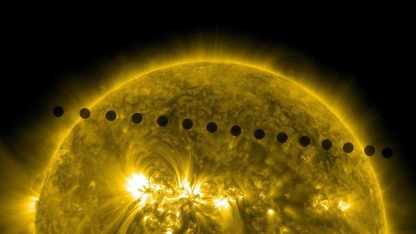 NASA / SDO, HMI - Multiple images from NASA's Solar Dynamics Observatory were combined to produce this picture tracking Venus' path from one side of the sun to the other. - June 5, 2012: 2012 Venus, Paths, Events, Time Lapse, The Faces, Videos, Venus Transitional, Astronomy, Photo
