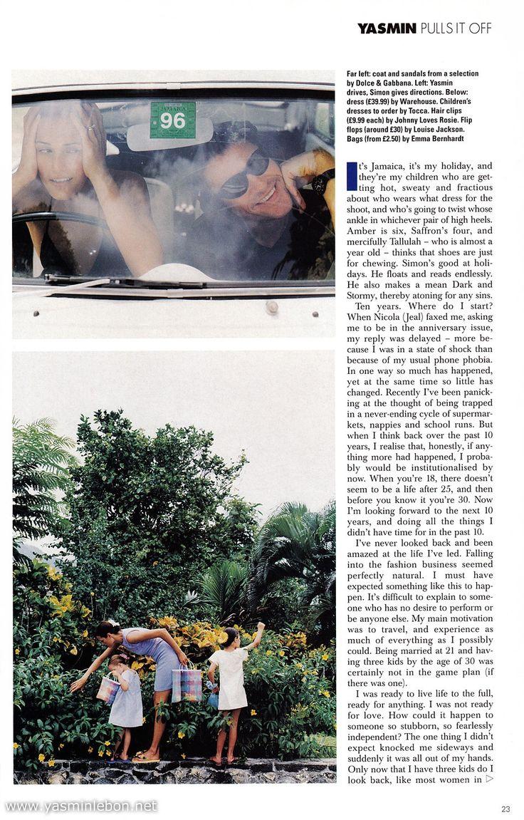 Simon, Yasmin, Amber and Saffron Le Bon 1995 elle uk november julian broad