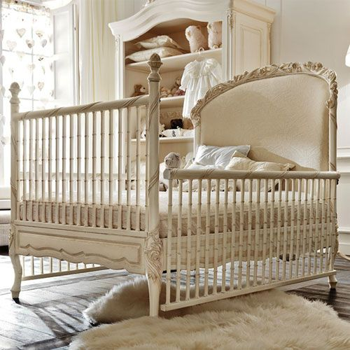 The Dolce Notte Crib surrounds petite slumber with ornamented design and unparalleled European craftsmanship. Every detail is lovingly placed to create a superior crib. Elegant, floral sculptures and ribbon border the upholstered headboard and legs. The headboard can be used as your little one's first bed with a conversion kit.