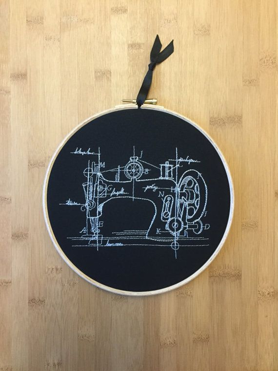 Sewing machine blueprint embroidery hoop art, embroidered schematic, modern, sew - seamstress tailor - gift for crafter