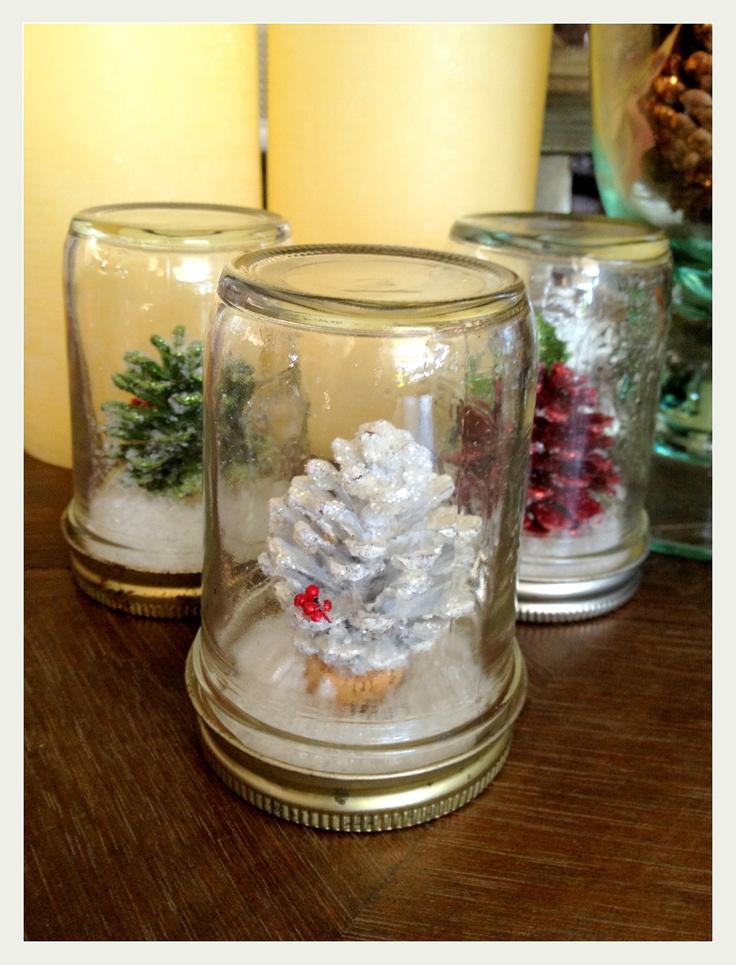Mason jar snow globe pine cone Christmas decoration. $8.95, via Etsy.