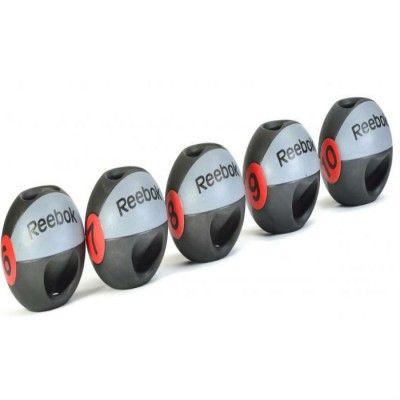 Reebok Medicinboll med dubbelt grepp har två handtag att hålla i så att man får ett säkert grepp om bollen även om den är tung.