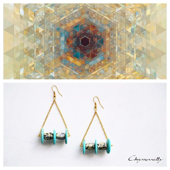 CGC020 - Gold chain geometric earrings with turquoise chaolite and dalmation jasper stones