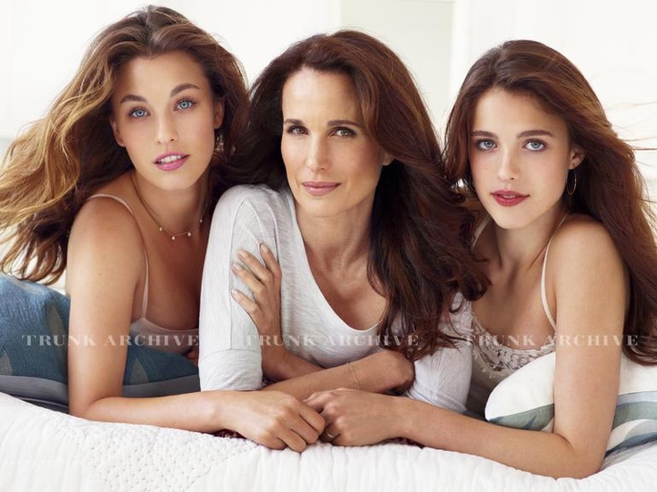 Andie MacDowell and daughters