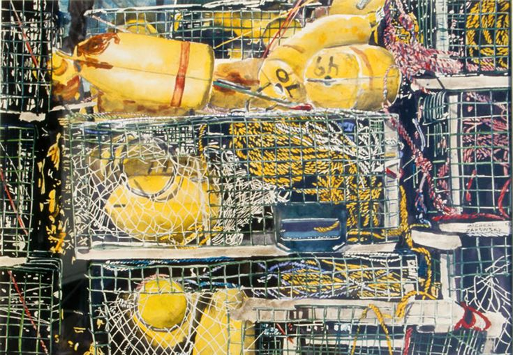 """lobster traps 16"""" x 22""""   micheal zarowsky  watercoour on arches paper"""