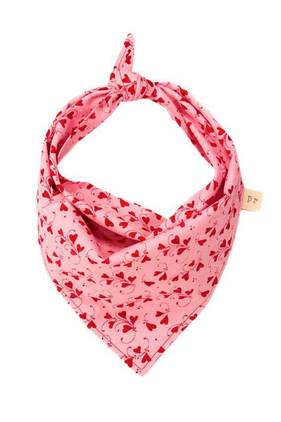 valentines dog scarf pink puppy bandana heart doggy by puppyriot