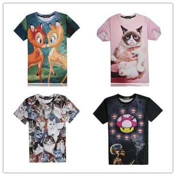 Killstar wholesale mall new arrival 3d t shirt bambis /pink grumpy cat/super mario skull men graphic t shirt women/mens tees