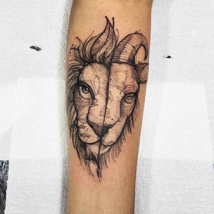 Lion/Capricorn – Sketch Tattoo