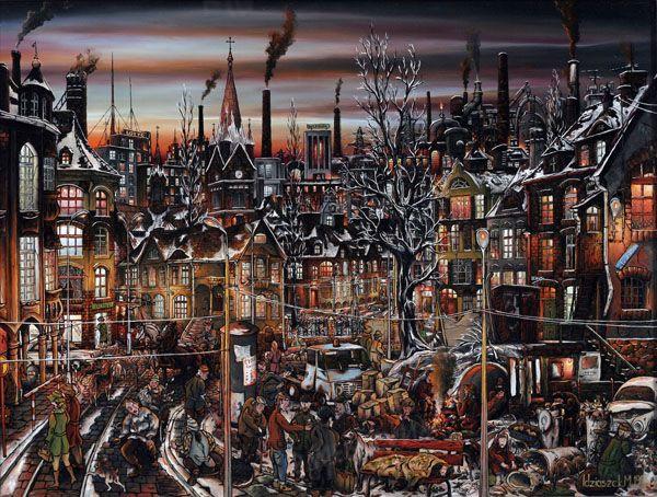 """""""Dzielnica śmieciarzy"""".""""District of homeless""""  oil painting on glass"""