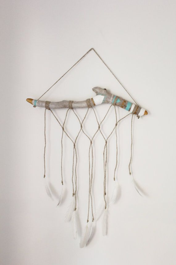 Large Drift Wood Wall Hanging with Feathers. Macrame Wall Hanging. Hemp and Painted Drift Wood.