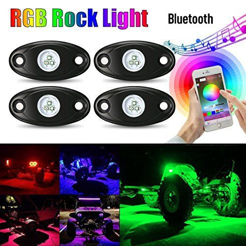 Perfect AMBOTHER pcs LED Kit de Lumiere RGB Rock Light Feu N on Ext rieur Multicolor Ampoule Atmosph re