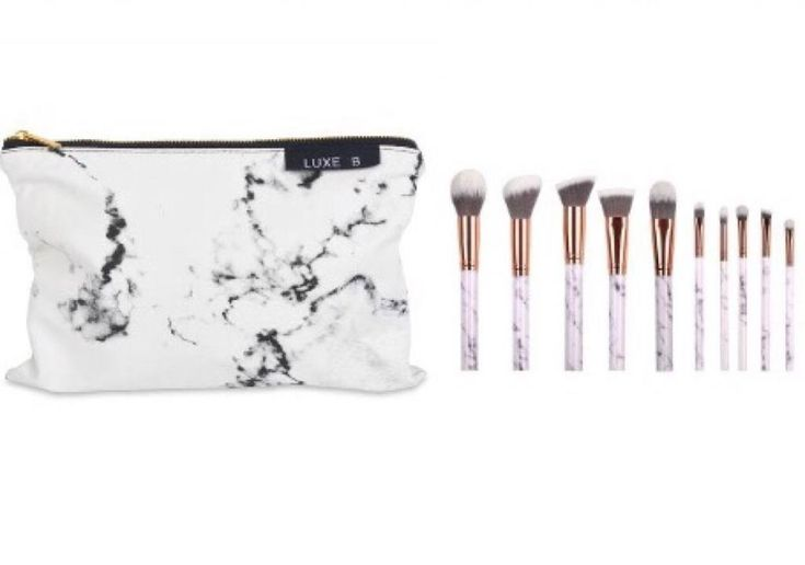 Luxe B Marble Makeup Brushes with holder