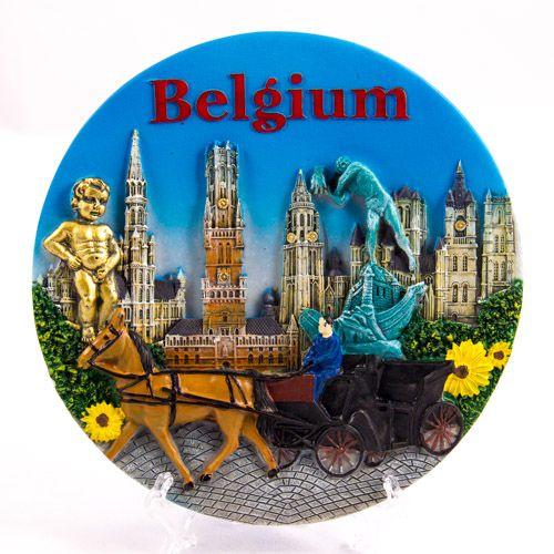 Souvenir Plate: Belgium. Belgium Attractions (Diameter 14 cm)