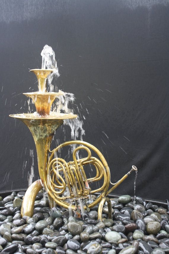 Um...WANT. French Horn  2 Fountain by WyldatHeartCustoms on Etsy, $3500.00