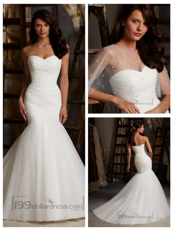 Fit and Flare Strapless Criss-cross Pleated Sweetheart Wedding Dresses