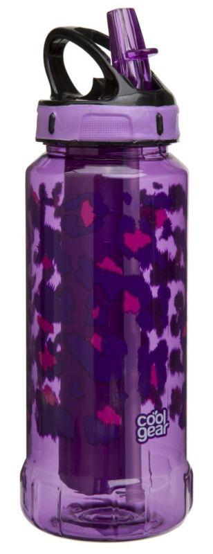 Butelka Rigid z wkładem żelowym oraz z nadrukiem, fioletowa (pojemność 600 ml) - Cool Gear