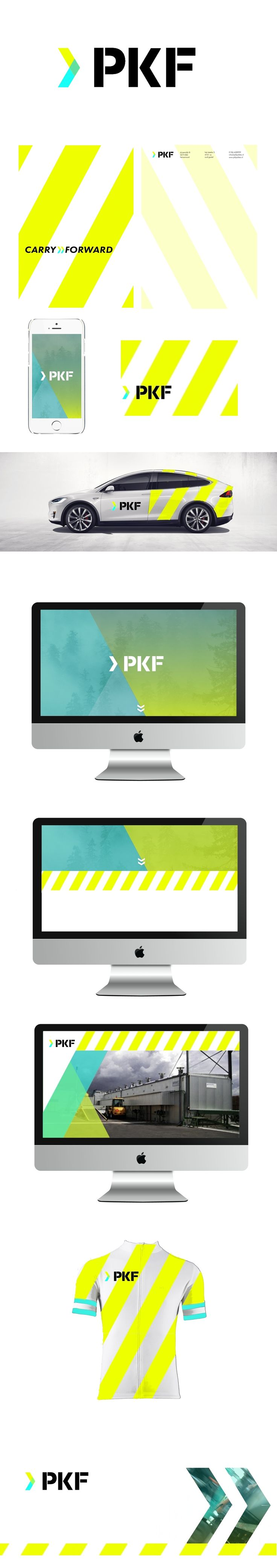 PKF is a pallet construction company. The > shape is inspired by the old logo and represents the innovative and forward thinking strategy of the company. It also is a visual representation of their slogan, which is: CARRY FORWARD. Carry for pallets that carry loads and a more figurative meaning that they take things to a new level.