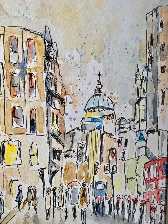 london watercolour original art not print pen and watercolour