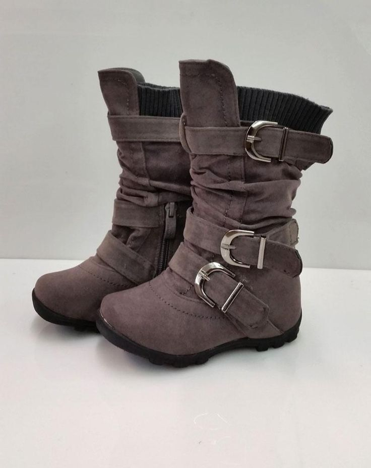 NEW TODDLER GIRLS HOT ELEGANT GRAY SUEDE BOOTS SIZE 4,5,6,7,8 NEW FAST SHIPPING