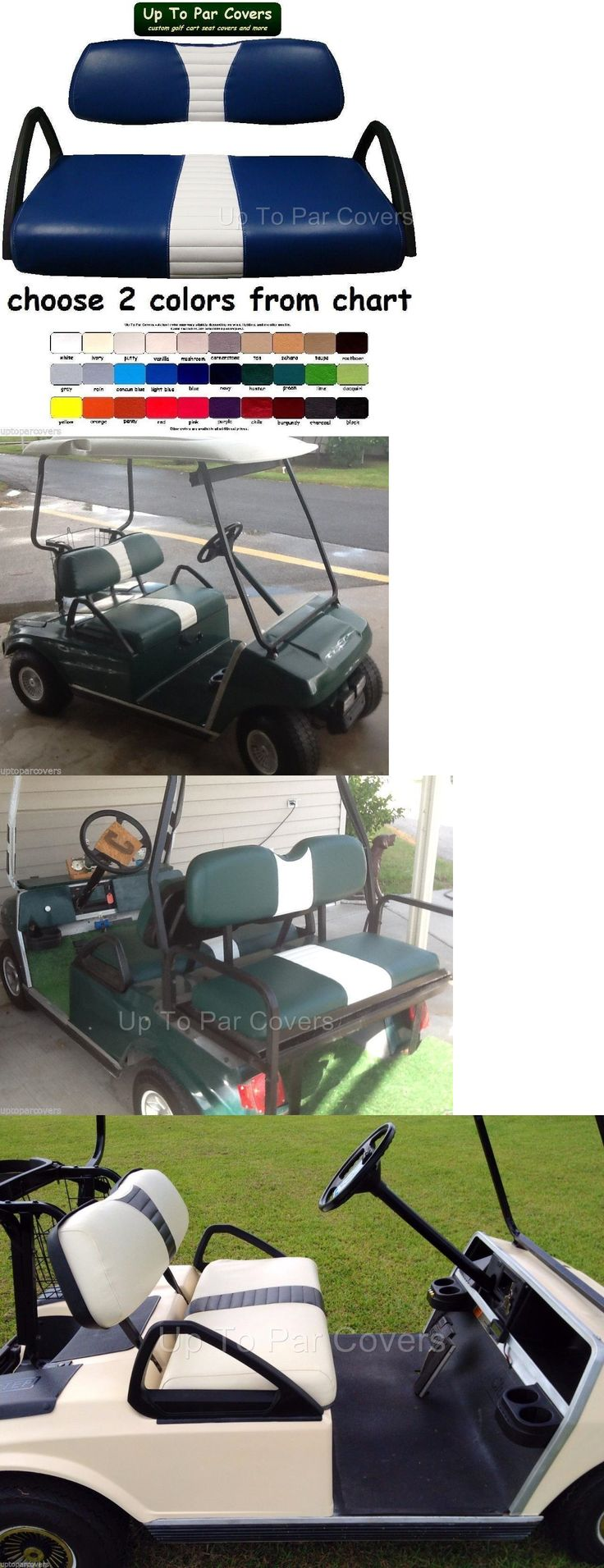 Push-Pull Golf Carts 75207: Club Car Ds 2000+ Golf Cart Custom Front And Rear Flip Seat Cover Combo Set -> BUY IT NOW ONLY: $89.99 on eBay!