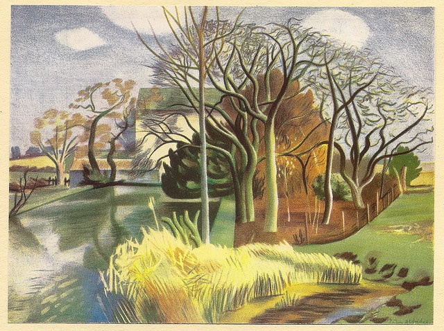 Mill in Essex - lithograph by John Aldridge for Contemporary Lithographs, c1938 by mikeyashworth, via Flickr