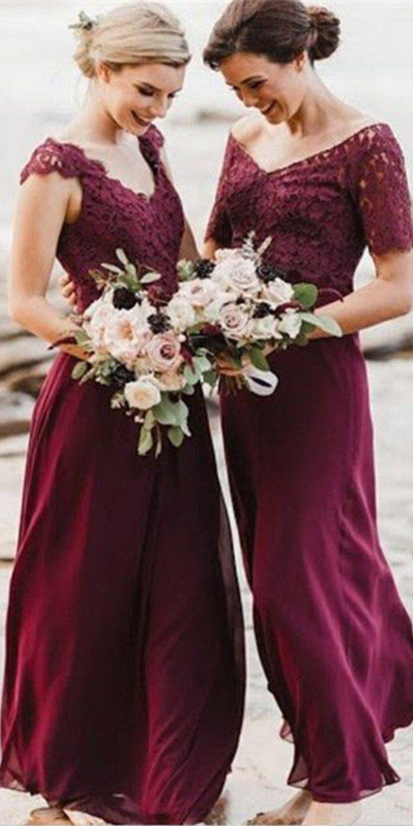 a43cc9dd1e83 Lace Chiffon Mismatched Styles Formal Long A Line Bridesmaid Dresses MD307 # bridesmaiddresses #longbridesmaiddress #weddingpartydress #bridesmaids # ...