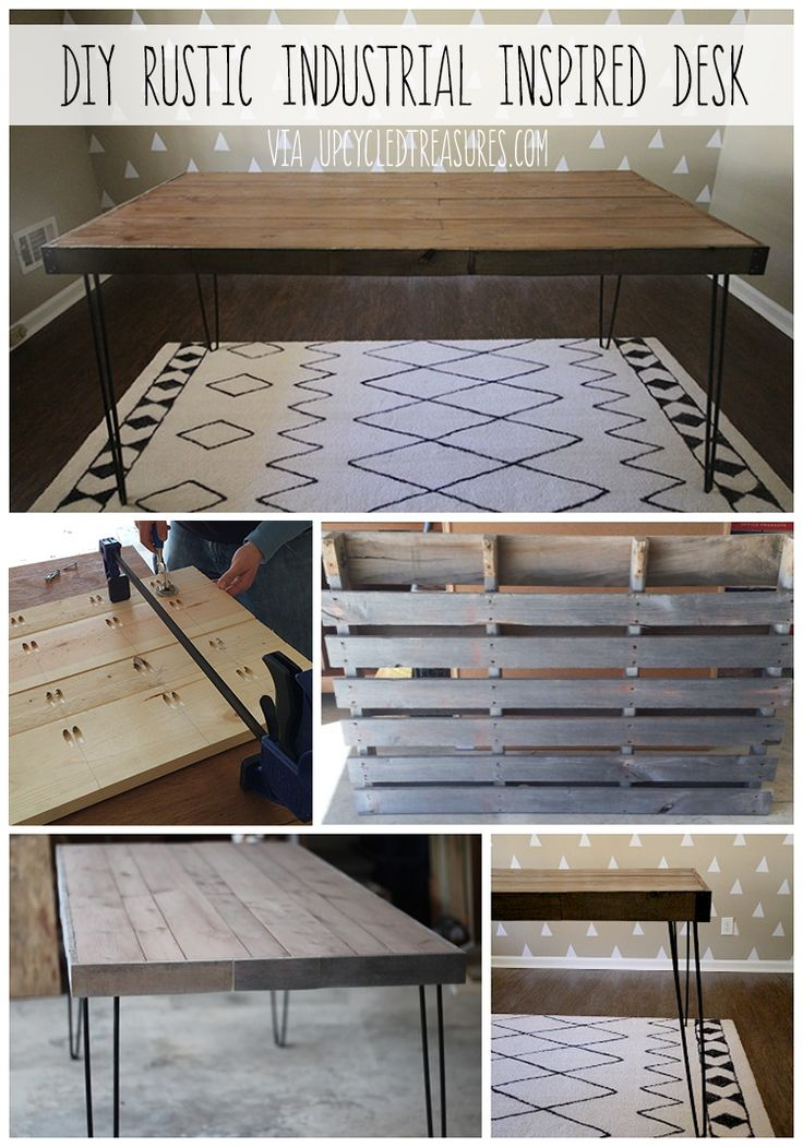 DIY Upcycled Rustic Industrial Desk - UpcycledTreasures.com  #furnitures