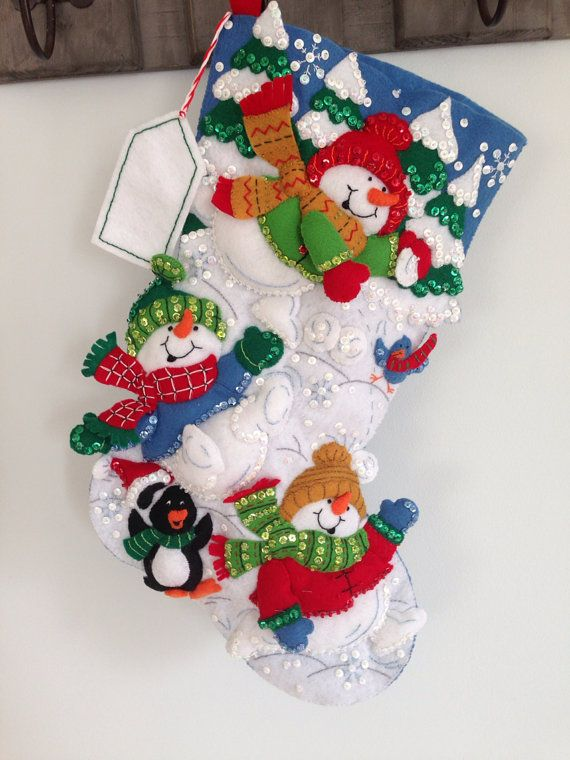 """Finished Bucilla Christmas Stocking 18"""" baby first Christmas child jillianbcreations  on Etsy, $89.00"""