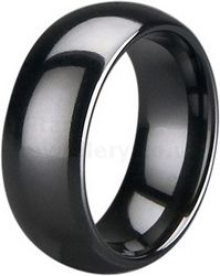 8mm Black Zirconia Ceramic Court Wedding Ring