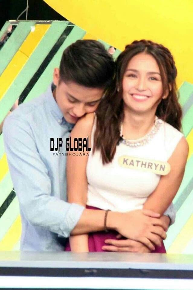 This is the handsome Daniel Padilla and the pretty Kathryn Bernardo smiling pretty and embracing each other while getting ready for a taping of Family Feud last May 22, 2016. This game shows Team Daniel vs. Team Kathryn on Family Feud on ABS-CBN hosted by Luis Manzano on Saturdays and Sundays. #KathrynBernardo #DanielPadilla #KathNiel #KathNielBernaDilla #TeamDaniel #TeamKathryn #FamilyFeudPH