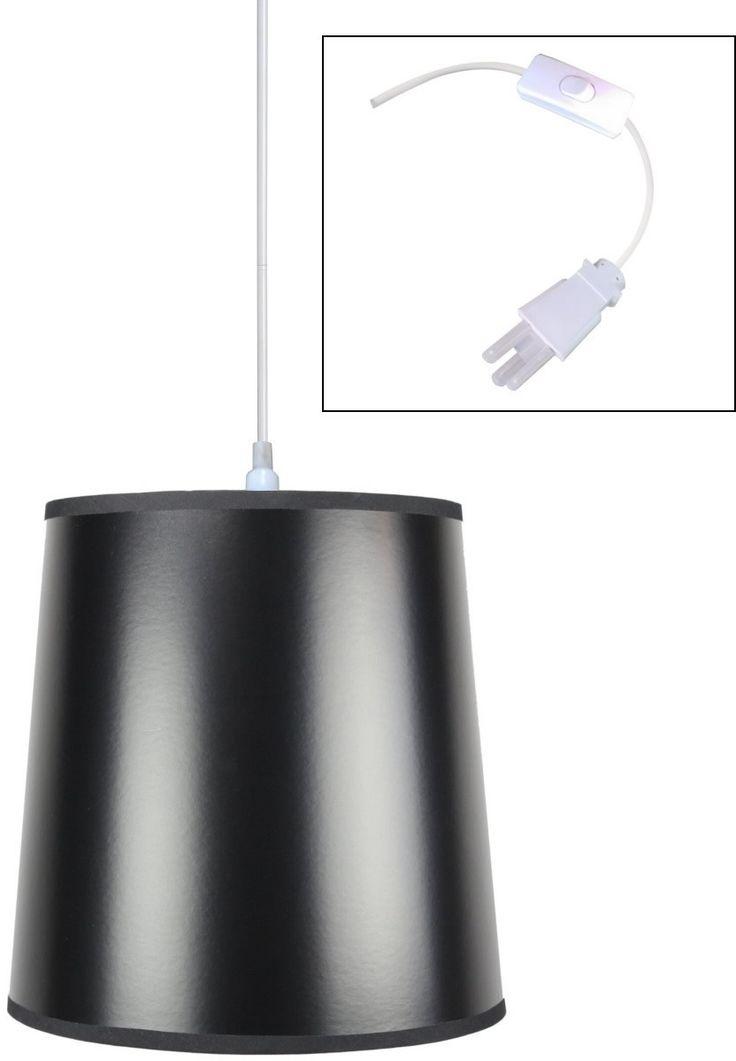 1 light plug in swag pendant lamp black gold shade