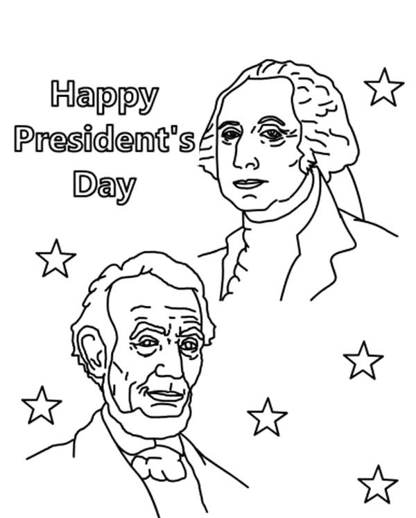 Happy Presidents Day With Lincoln And Washington Coloring