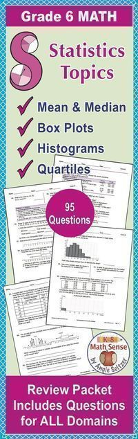 Review all sixth grade #math topics including mean, #median, box plots, histograms, quartiles, and more! This comprehensive review packet along with 3 parallel packets let you check progress all year.