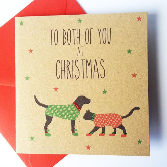 Cat and Dog Christmas Card Black Cat and Black by JayneyMac