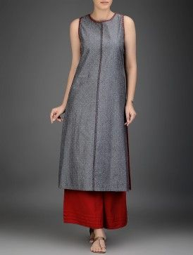 Grey-Red Embroidered Cotton Chambray Kurta