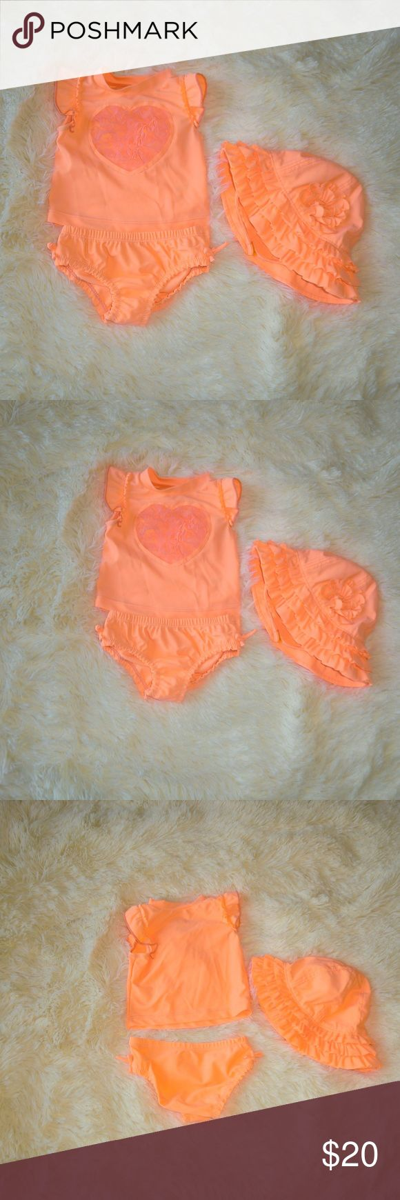 Koala Kids Bright Coral Orange Tankini Hat Set Adorable Koala Kids bright orange coral tankini set with matching hat in size 3-6 months.  Top has a heart with flouncy mesh center.  Hat has ruffles and flower. Koala Kids Swim