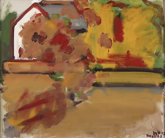 Autumn Landscape with House by Robert De Niro Sr., 1968, Oil on canvas, 30 x 36 inches | DC Moore Gallery