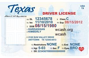 Template Texas NEW drivers license editable photoshop file .psd