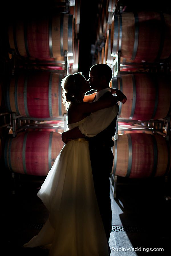Bride & groom photo in the barrel room - Novelty Hill Winery, Woodinville, WA (photo by Rubin Photography)