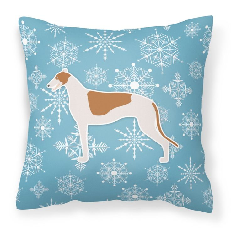 Carolines Treasures Winter Snowflake Greyhound Square Decorative Outdoor Pillow - BB3505PW1414