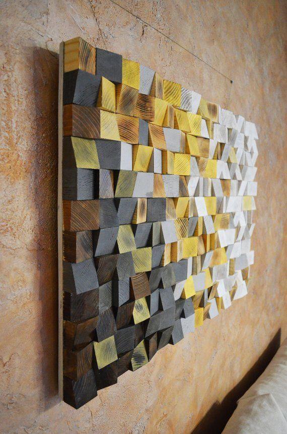 Holz Wandkunst Der Winter kommt, ist ein geometrischer Kunstdekor und die Echtholzskulptur