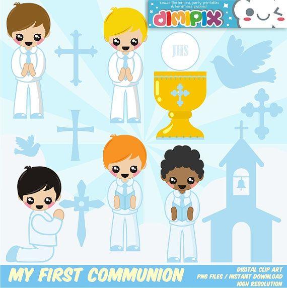 Mi Primera Comunión - Confirmación (niño) / Clipart Set / Party Kit printable / imagenes digitales descarga instantanea