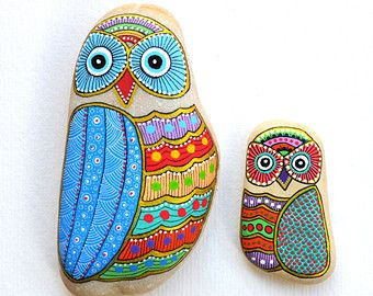 Set of 2 Hand Painted Stone Owls