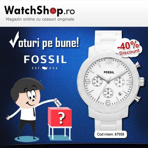 Cine voteaza cu Fossil? Ne garanteaza 40% reducere!  https://www.watchshop.ro/ceasuri-de-dama/fossil/natalie-ce1075-cronograf-ceramic/  Sau poate ceilalti candidati vi se par mai de incredere:   https://www.watchshop.ro/