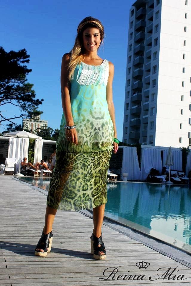 Vestido largo de gasa estampada con flecos de seda !
