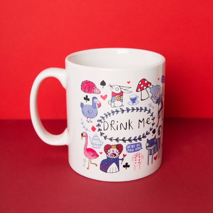 A ceramic mug adorned with illustrations inspired by Lewis Carrolls Alice in Wonderland  Measurements: 10oz - standard mug size. (The diameter of the brim measures approx 8cm) Ethically produced. Designed and printed in the UK. Comes with our new eco box that is both durable and strong for safe delivery but also a very smart gift box (Pictured) (Miniature flamingos not included)  Care instructions: Microwave safe Dishwasher safe, but I would recommend hand washing where possible to keep the…