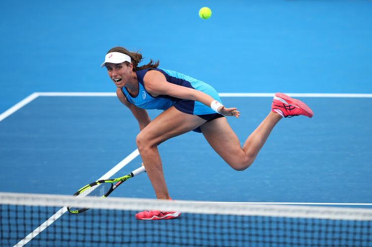 Johanna Konta Photos Photos - Johanna Konta of Great Britain plays a forehand during her womens singles match against Daria Kasatkina of Russia during day four of the 2017 Sydney International at Sydney Olympic Park Tennis Centre on January 11, 2017 in Sydney, Australia. - 2017 Sydney International - Day 4